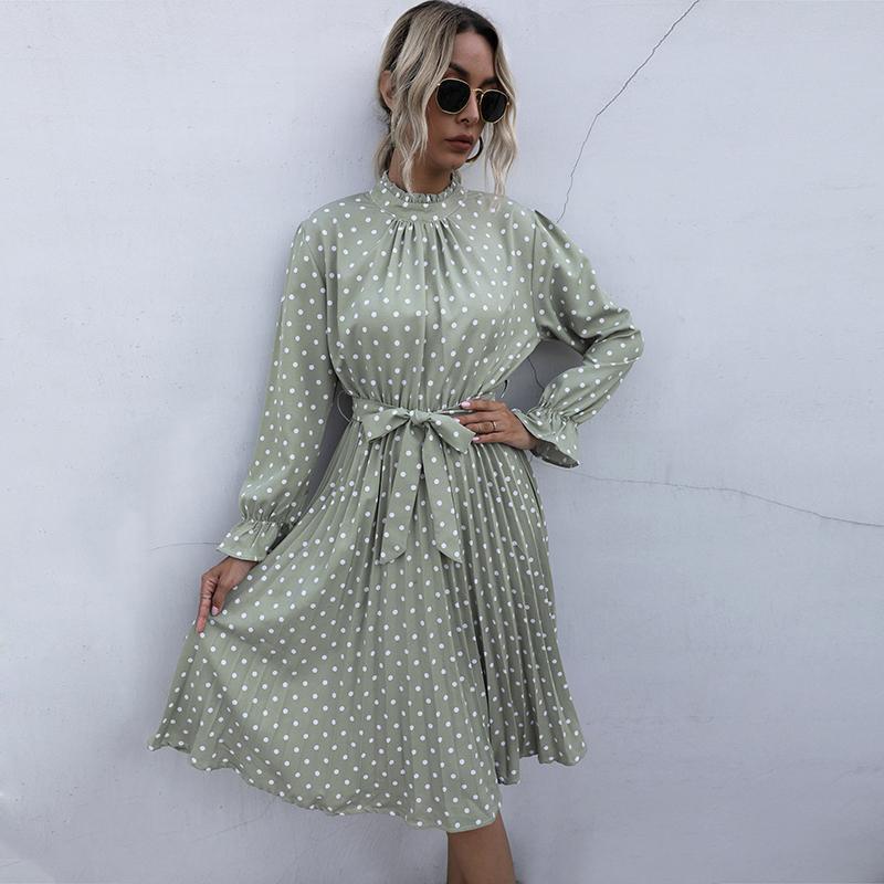 2020 Femme d'automne Femme élégante robe Midi à volants plissés Kawaii Polka Dot Vêtements pour Femmes Casual Ruched Noir Boho Beach Robes
