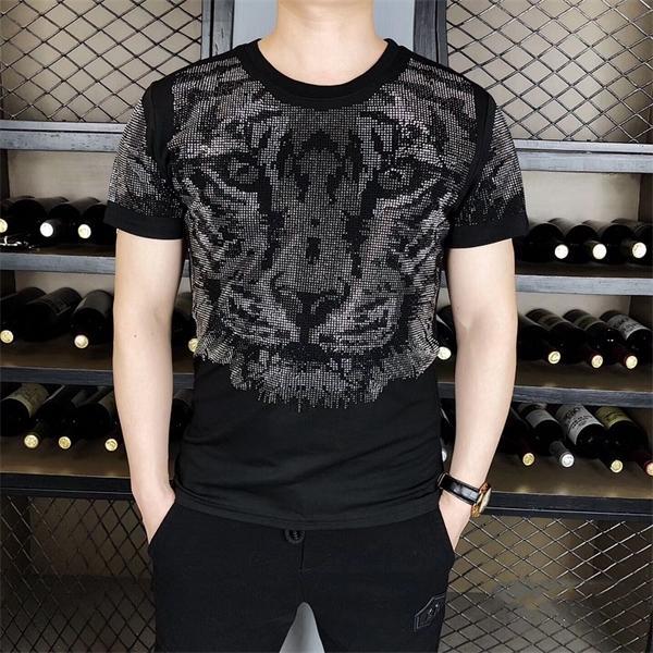Moda Elmas Kaplan Kafa T-shirt Erkek Yüksek Kalite Yaz T Gömlek Erkekler Kısa Kollu Streetwear Rahat O-Boyun Tee Gömlek Homme 1021