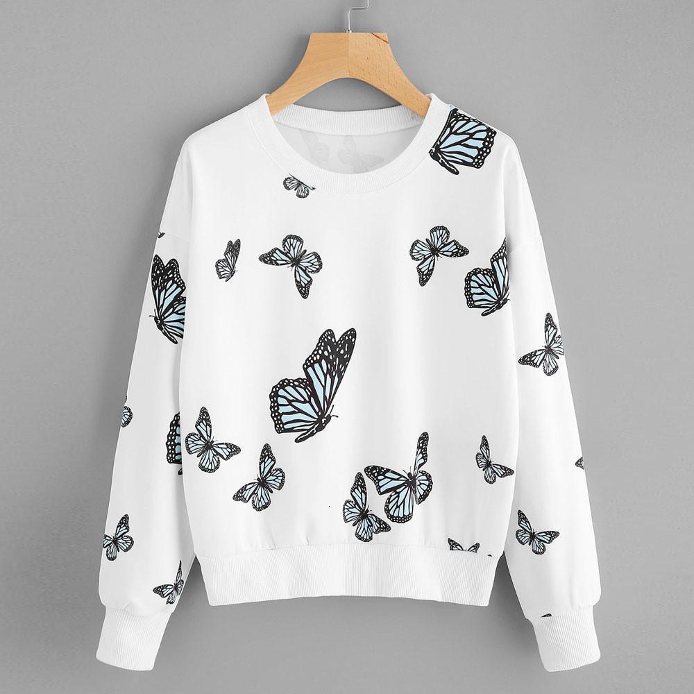 Fashion-Felpa donne di stampa della farfalla manica lunga Pullover sportivo Plus Size Jumper Top Power Puff ragazze Bassiera Streewear