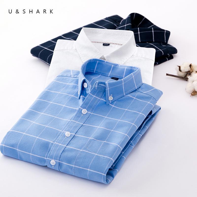 U&SHARK Blue Plaid Shirt Long Sleeve Formal Checkered Shirt 100% Cotton Mens Dress Shirts Brand Clothing Casual White Navy LJ200928