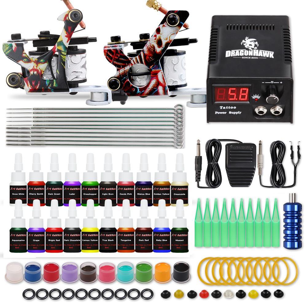 Beginner Tattoo Kit 2 Guns LCD Power Supply Disposable Needles Tips D175GD-15