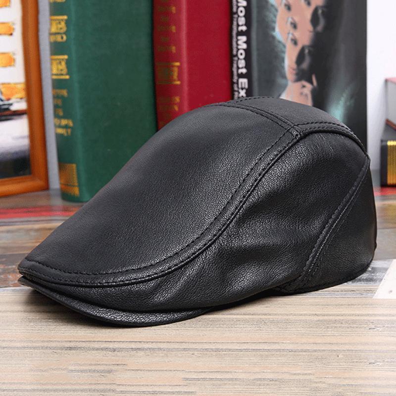 Bereliler Düz Kap Gerçek Deri Siyah Kahverengi Erkek Kadın Bere Şapka Inek Derisi Orijinal Kadın Erkek Duckbill Sonbahar Kış Gatsby