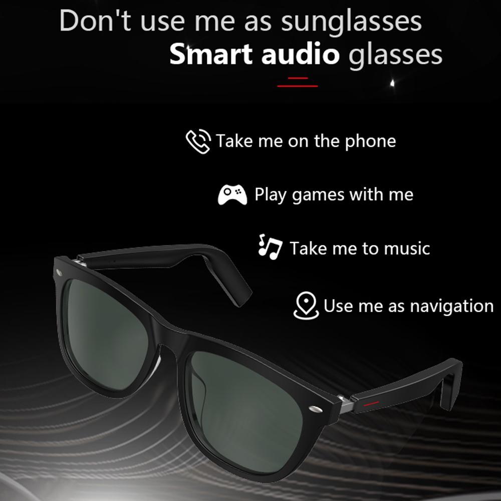 Lunettes de soleil E9 intelligent TWS Musique Bluetooth Appel Hommes Femmes Classique Rivet Cadre Carré Sun Gasse au volant pour téléphone Android Huawei IOS