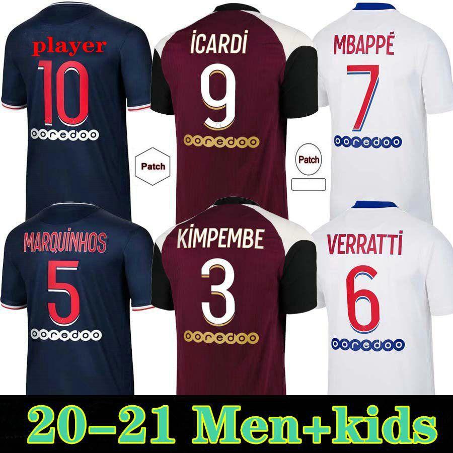 2020 2021 Soccer Jerseys MBAPPE DI MARIA ICARDI VERRATTI KIMPEMBE KEAN Custom 20 21 Home Away Third Men Woman Kids Enfants Football Shirts