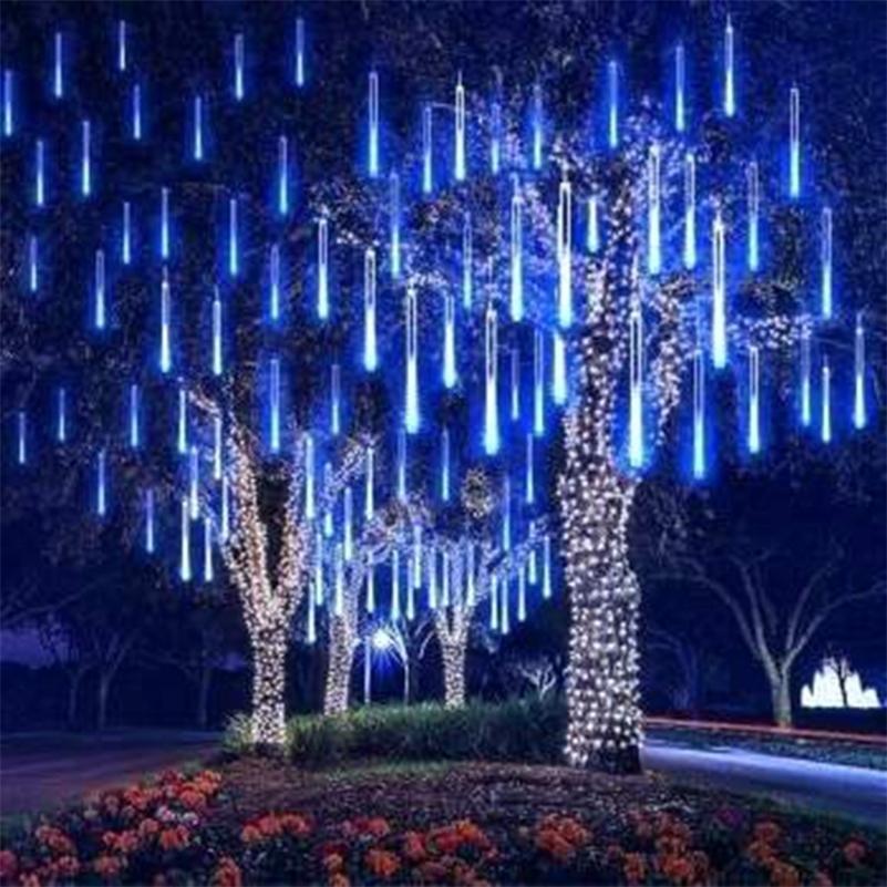 Neues Jahr 30/50 cm Meteor Dusche Regen 8 Tuben LED String Lights Wasserdicht Für Outdoor Weihnachtsdekor Baum mit Stecker Schwanz # 5 Y201020