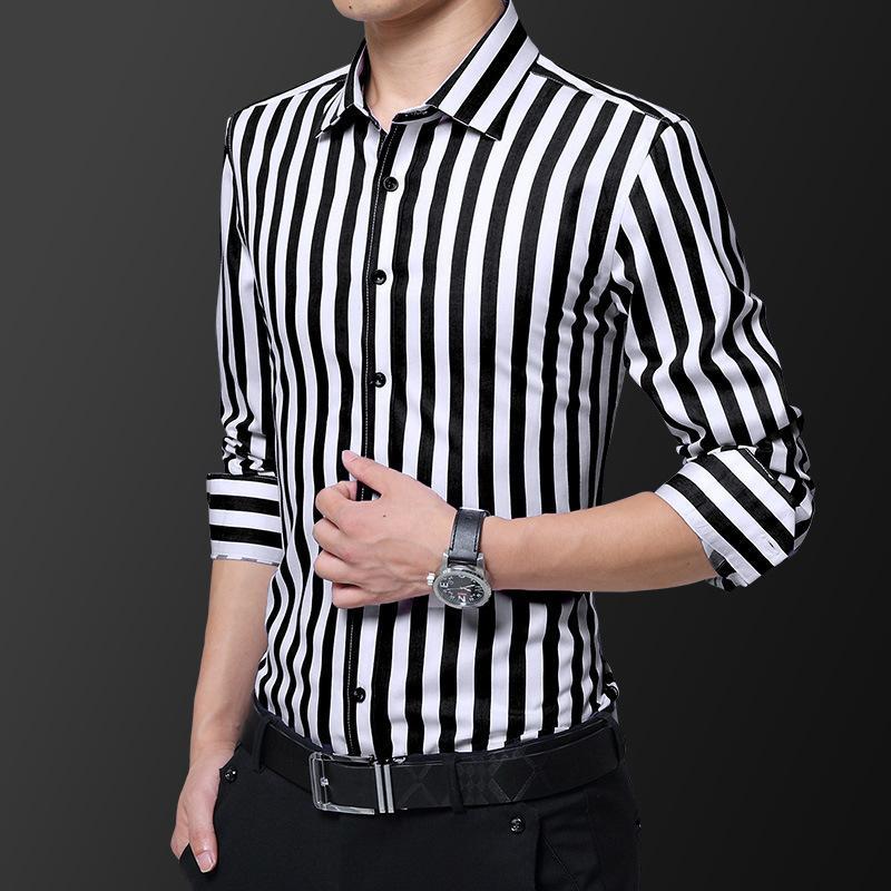 Printemps pour hommes automne nouveau coréen slim manches longues tendance tendance jeune belle chemise occasionnelle