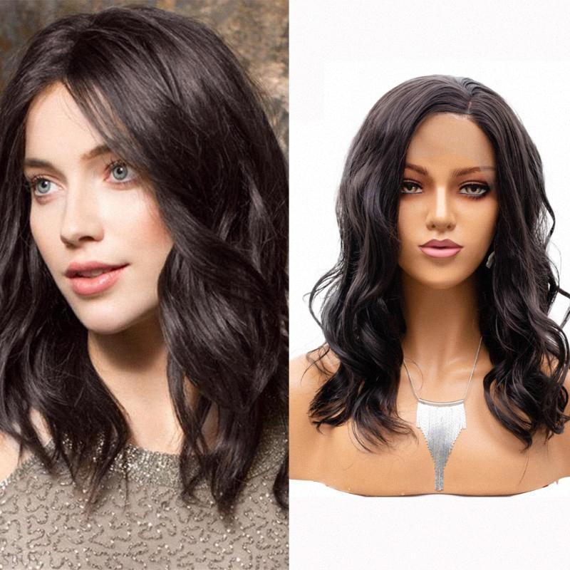 Carisma Nut Brown Bob Cabelo ondulado para todas as peles Mulheres sintética rendas frente Wigs Seja Restyled para uso diário Calor Glueless Fiber PtmT #