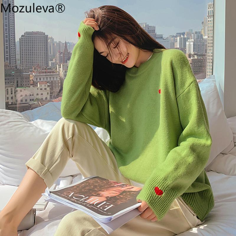 Zu 2020 Herbst-Winter-lange Hülsen-warme gestrickte Pullover-Strickjacke O-Ansatz weiblicher loser Aufmaß Printed nette Herz Sweater