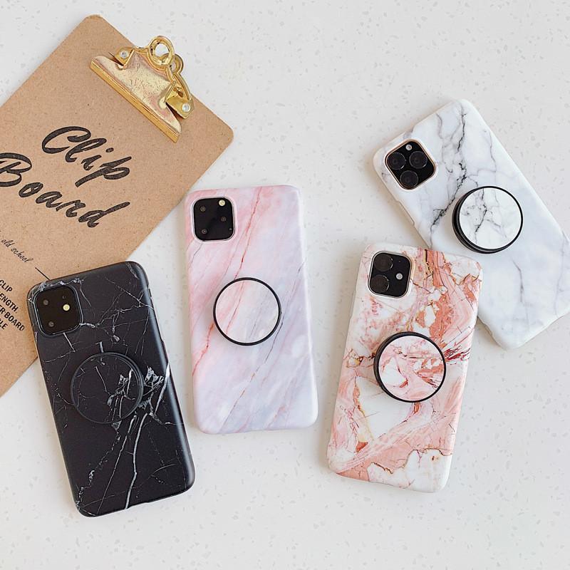 Casi di telefono in pietra di marmo di modo per iPhone 13 12 Mini 11 Pro XS Max XR x 8 7 6S Plus Custodia cellulare TPU morbida con staffa DHL