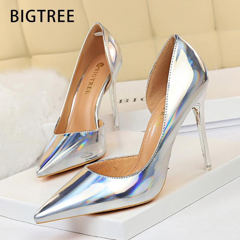Bigtree 2020 Nuove pompe Sexy High Stilotto Silver Silver Shoes Shoes Donne Tacchi femminili T200525