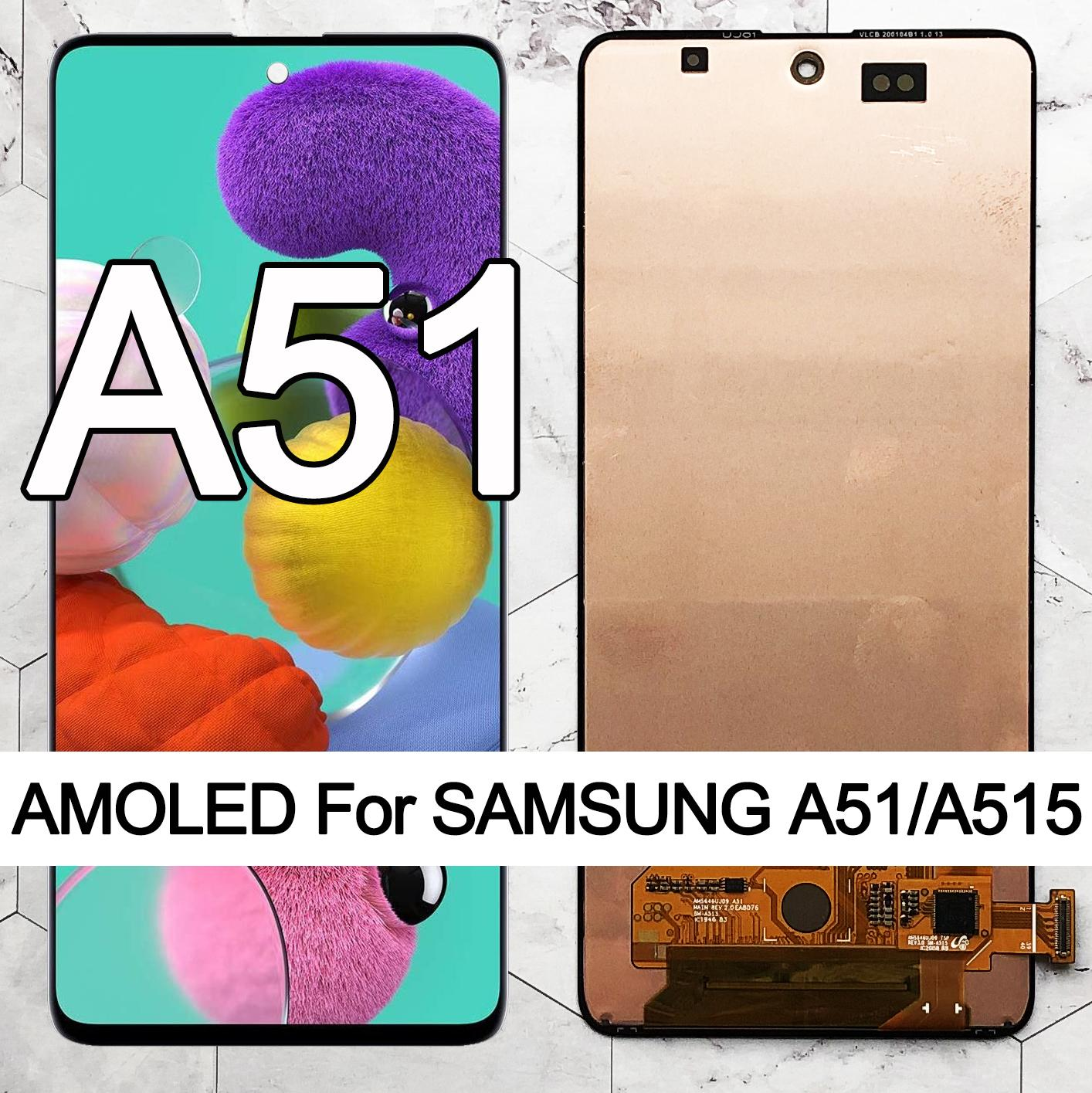 Original SUPER AMOLED 6.5'' Display For Samsung Galaxy A51 LCD A515 A515F/DS A515FD Touch Screen with frame Digitizer Assembly