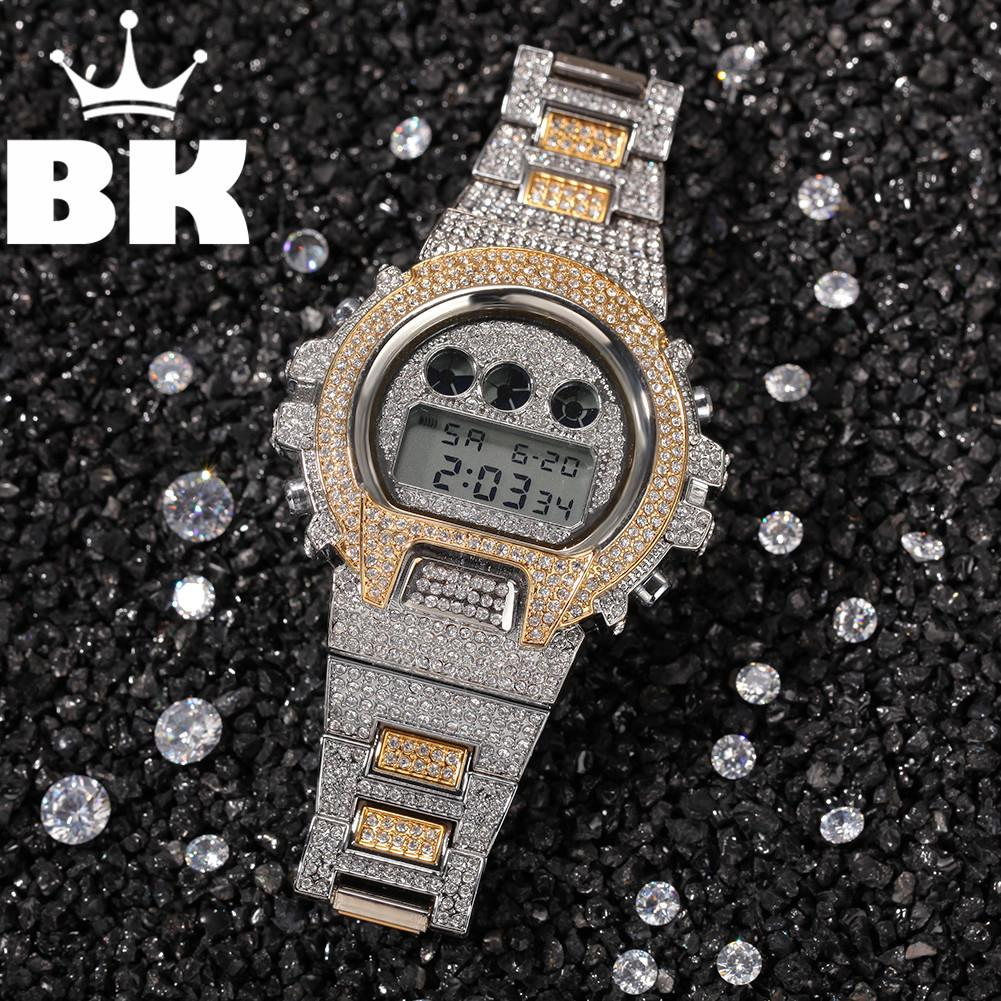 Hip Hop Full Iced Out Мужчины Часы из нержавеющей стали моды класса люкс Стразы Кварц площади Наручные часы Business Watch 0927