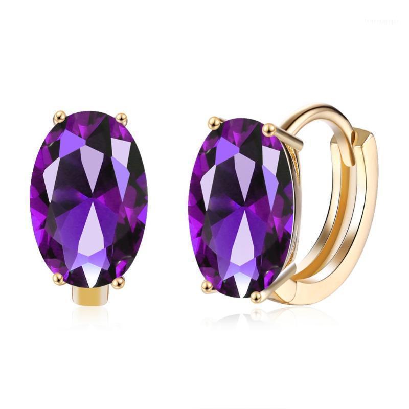 Hoop Huggie lila Österreich große ovale kristall ohrring blau kubikzircon Aussage Ohrringe für Frauen Engagement 2021 Modeschmuck1