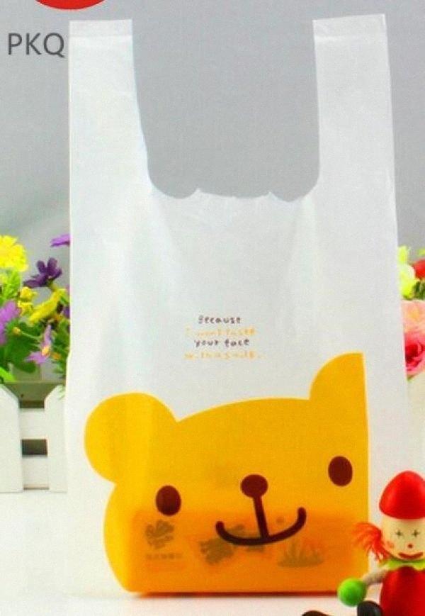 Nuevo diseño caliente de la venta al por mayor de joyería blanca de plástico Mini accesorios bolsas con el oso /, Pequeño regalo Embalaje Bolsas zbZI #