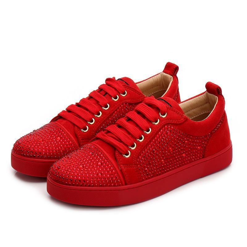 2020 designer sneakers rot bodenschuh niedrig geschnitten wildleder spike luxus schuhe für männer und frauen schuhe party hochzeit kristall leder casual schuhe