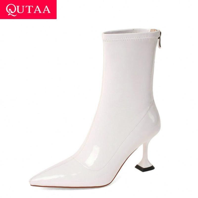 QUTAA 2021 Rugan PU Bilek Boots İnce Topuk Moda Kadın Ayakkabı Sivri Burun Fermuar Sonbahar Kış Kısa Çizme Boyut 34-39
