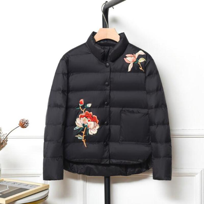 Sedutmo Mode d'hiver Canard doudounes femmes Oversize broderie Manteau Courtes Doudoune Automne Parkas Ed1198