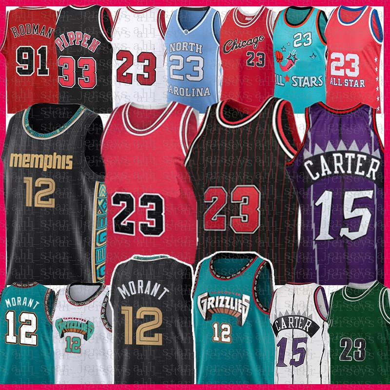 Ja 12 Morant 23 Vince 15 Carter Pallacanestro Jersey Scottie 33 Pippen Dennis 91 Rodman Retro Mesh Jersey 2021 New Men's Youth Kids Adult