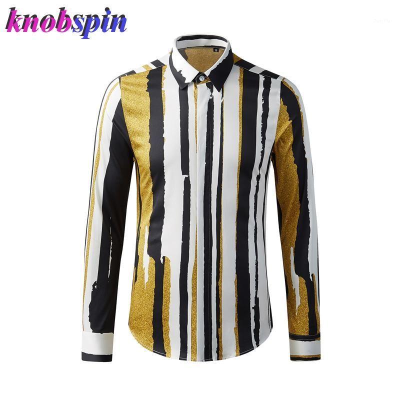 Lüks Saf Pamuk Gömlek Erkekler Uzun Kollu Ince Baskılı Chemise Homme Artı Boyutu Rahat Iş Erkek Elbise Gömlek1
