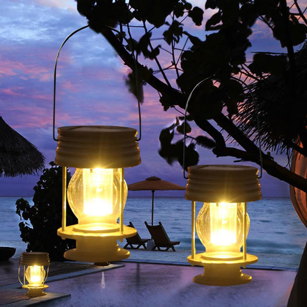 2 Pack Retro Solar Hanging Lanterns Outdoor Garden Lamp Vintage Table lights With Handle for For Outdoor Pathway Yard Patio Tree Beach