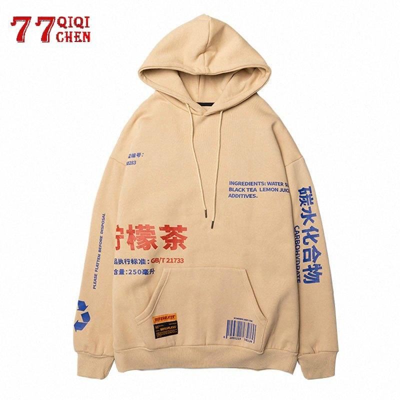 Lemon Printed PulloverHoodies Männer / Frauen beiläufige mit Kapuze Street Sweatshirts Hip Hop Harajuku Male Big Pocket-Tops 1wOT #