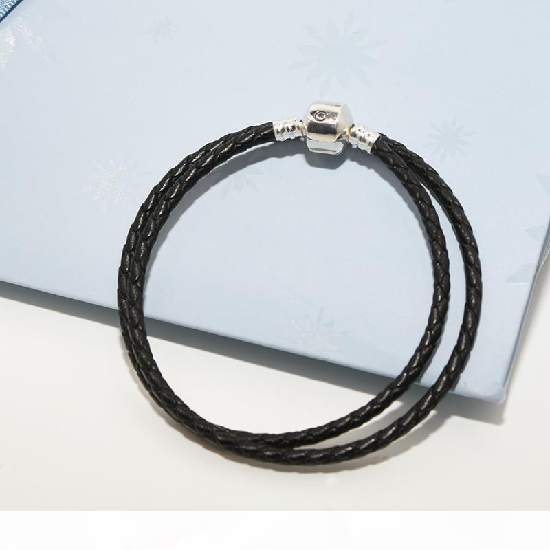 Bracelet à la main en cuir noir double couche pour hommes Boîte d'origine pour Pandora 925 Silver Charms Bracelet Bijoux cadeaux pour hommes