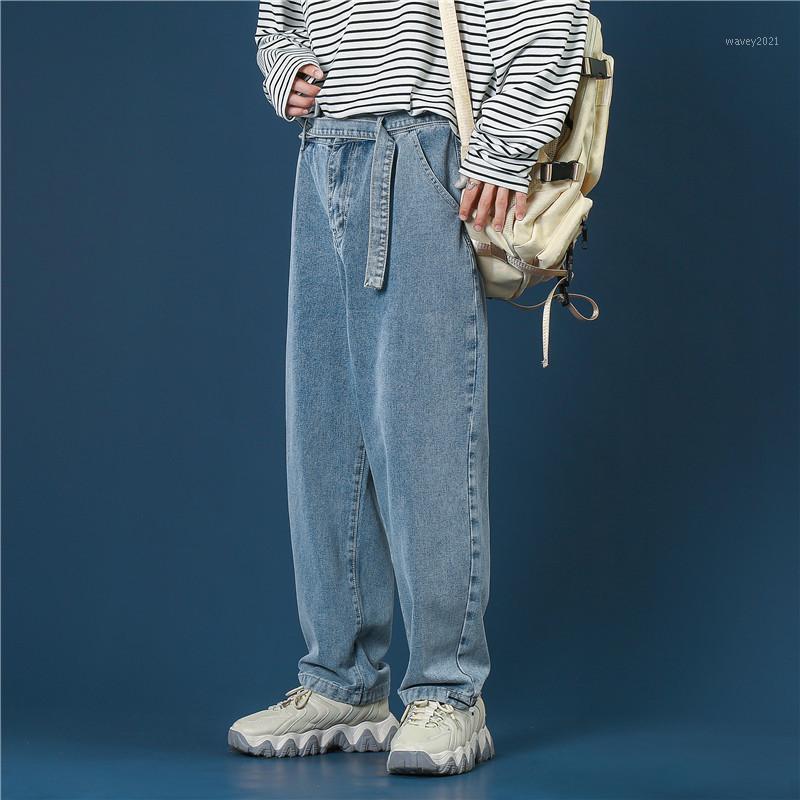 Ins Tide Brand Lavato Pantaloni Denim Denim La versione coreana maschile della tendenza degli studenti sciolti selvaggi pantaloni casual da gamba larga selvaggia1