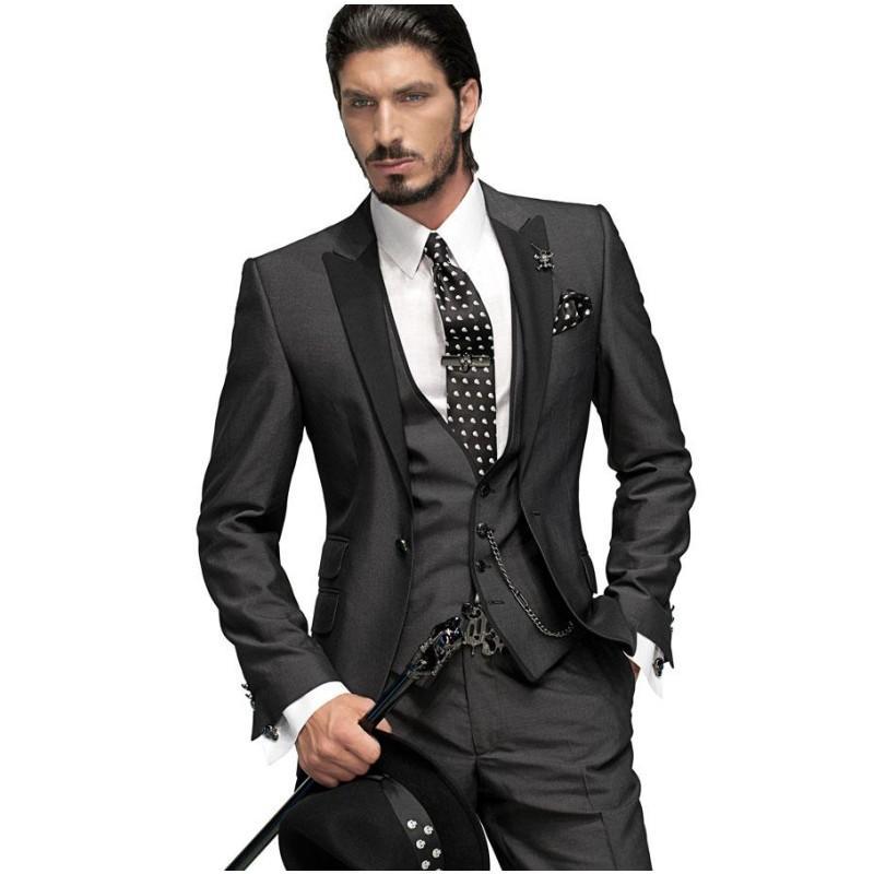 2021 smokinges del novio botón del ajustado uno Trajes de boda gris carbón mejor hombre Pico Negro solapa de los padrinos de hombres (Jacket + Pants + Tie + Vest) AL7240