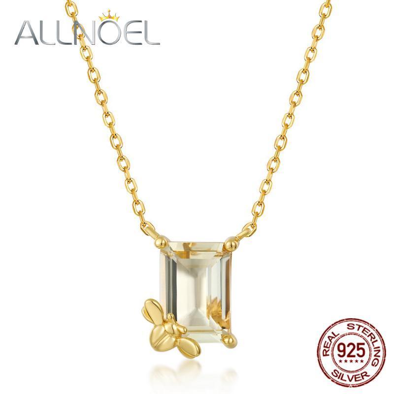 Cadeias Allnoel Sólido 925 Sterling Sliver Colar para Mulheres Lemon Cristal Real Banhado A Ouro Aniversário Luxo Fine Jóias Presente