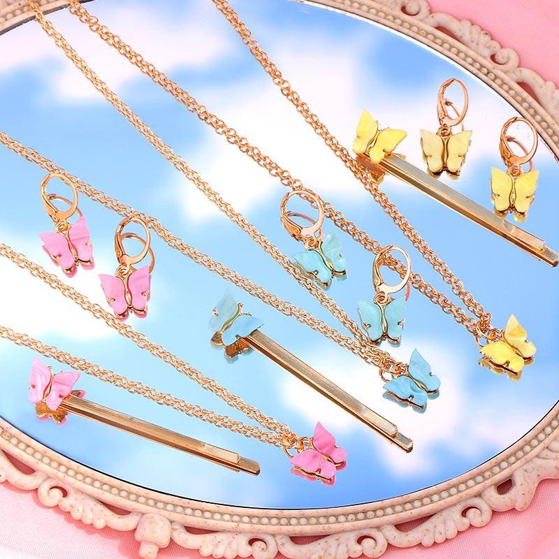 Серьги Ожерелье Bynouck 3 шт. / Компл. Многоцветные Акриловые Ювелирные Изделия для женщин Подарки Подвеска Прикосновение Мода Bijoux Set