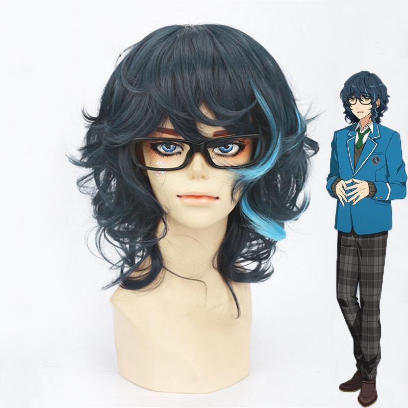 Ensemble Stars Tsumugi Aoba Short Curl Heat-resistant Fiber Hair Peruca Anime Cosplay Costume Wigs+ Wig Cap