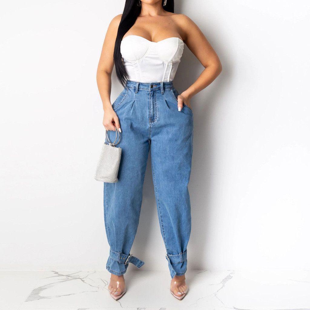 Женщины леди мода плюс размер джинсы дыра на молнии высокая талия джинсовые брюки фашированные высокие джинсы прямые брюки # 3