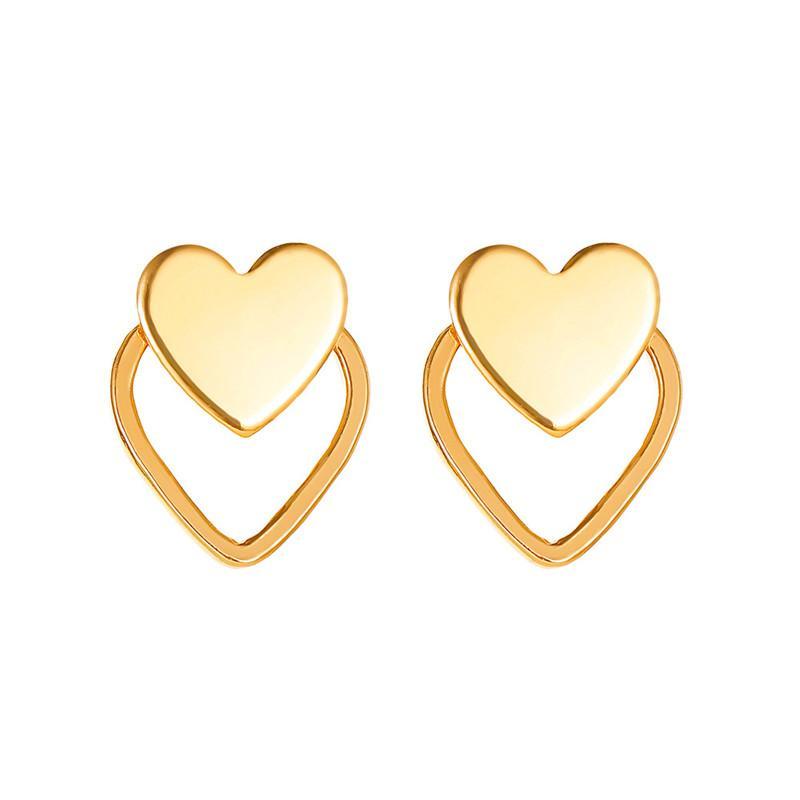 Pendientes del regalo del amor del oído 30Pairs / Lot Doble European Heart Stud pendiente estrenar de la aleación de oro gota Partido Hollow Mujeres joyería y accesorios