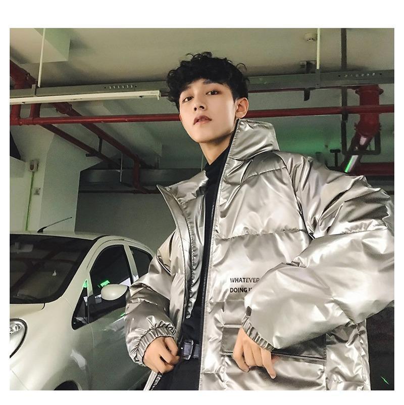 Gümüş Kış Ceket Erkekler Parkas 2020 Erkek Streetwear Kalın Ceket Rüzgarlık Kore Kirpi Ceketler Sıcak Kabarcık Mont