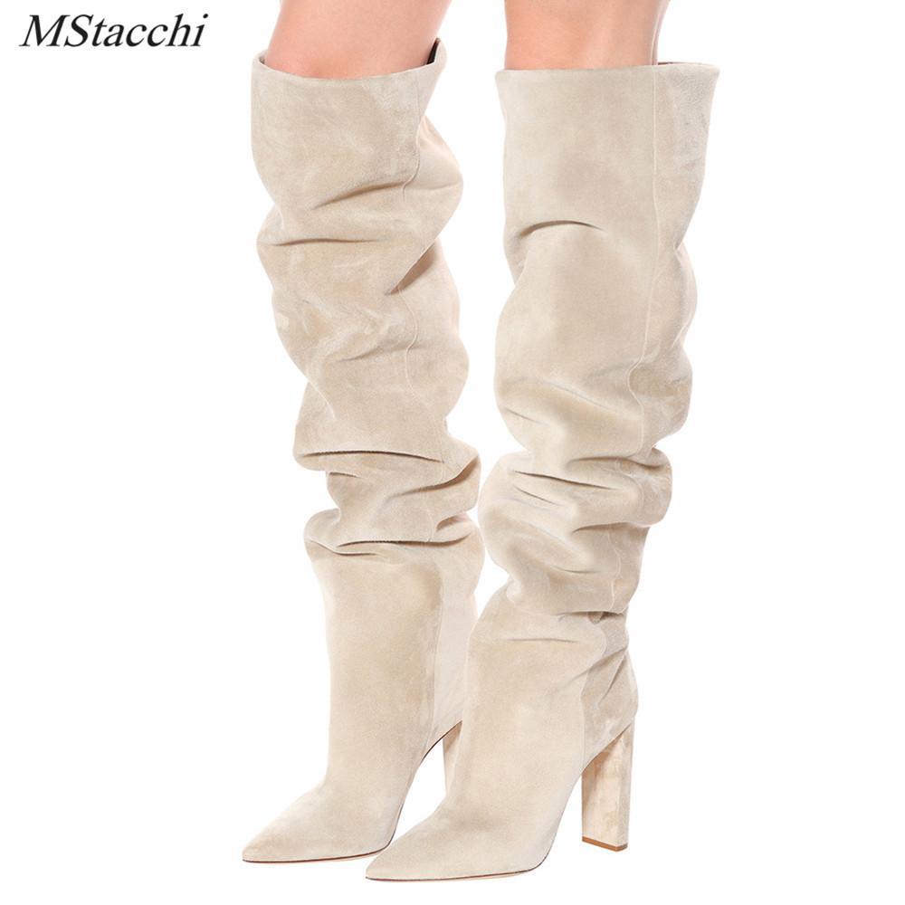 Mstacchi Mujeres Faux Suede sobre la rodilla High Slouchy Boots Pointy Toe Chunky Heel Slouch Botas largas Damas de tacón de invierno 201105