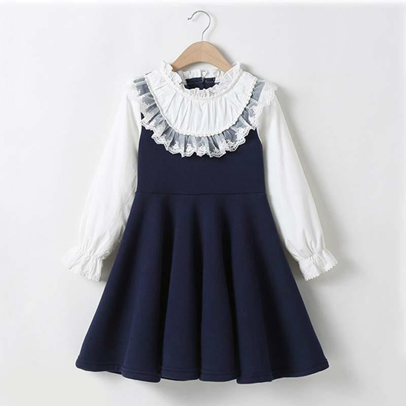 Школа новых девушек одежда платье детское повседневное платье детей лоскутное падение одежда детей с длинным рукавом платье синий белый w1227