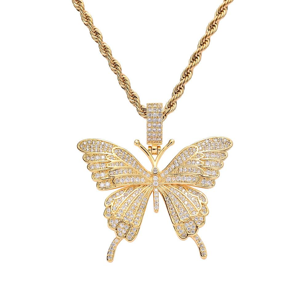 Borboleta pingente pequeno para fora congelado Corrente de Ouro Cor Prata Bling CZ Hip-hop Declaração de colar de jóias para as Mulheres Homens