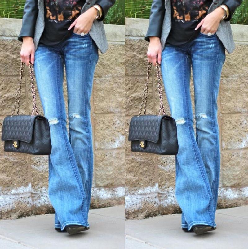 Moda Esticar Cintura Alta Mulheres Flare Jeans Rasgado Vintage Denim Largo Perna Lared Calças de Jeans Coreano Black Blue Burro Flare Pants1