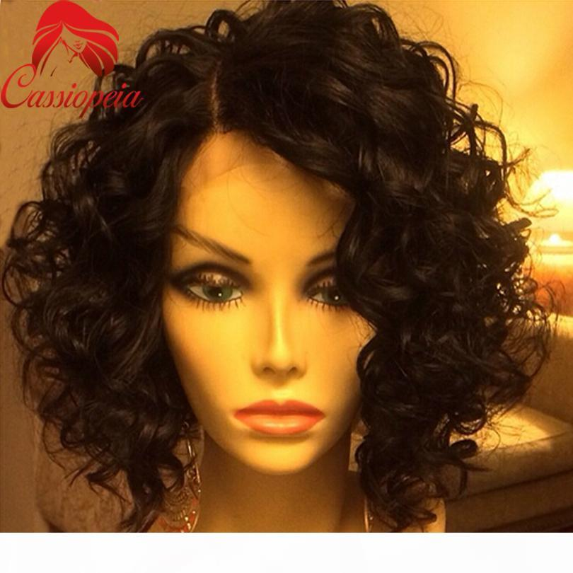 Mode Natürliche Welle Menschliches Haar Kurze Vordere Spitze Perücke Unverarbeitete brasilianische kurze wellenförmige Spitze Front Perücken mit Babyhaar Kurz Full Spitze Perücke