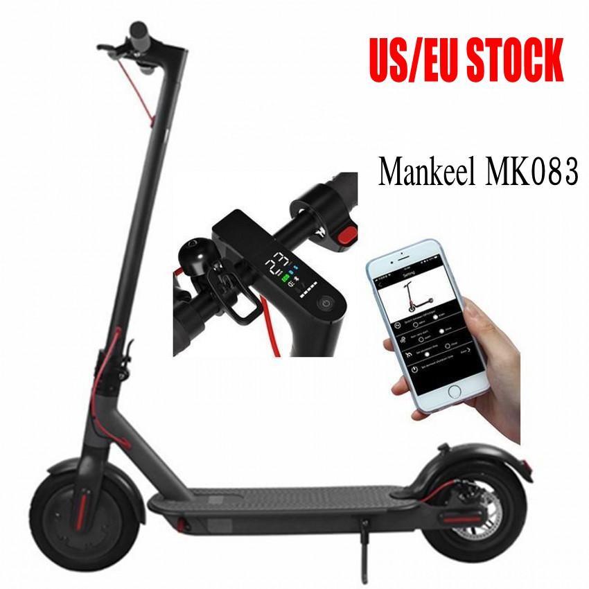 Mankeel ABD İNGILTERE Stok Bluetooth Akıllı App Kontrol Katlanır Elektrikli Scooter 8.5 inç Lastik Ebike 2 Tekerlek Elektrikli Bisiklet Scooter MK083