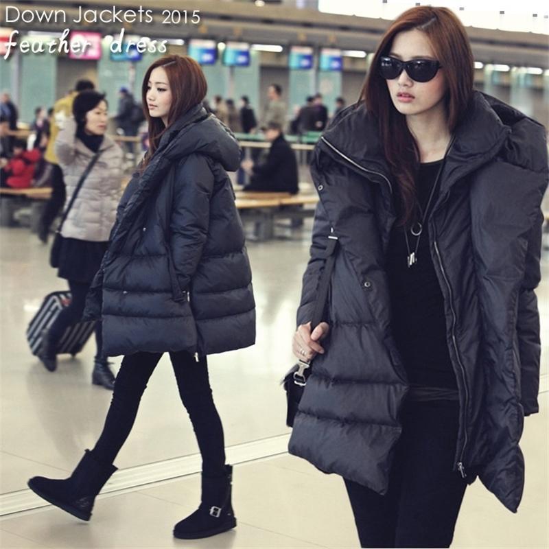 Sıcak Satış Sıcak Yeni Siyah Donanma Mavi Kirpi Aşağı Ceketler Rahat Stil Büyük Boy Kış Mont Kadınlar Için 201102