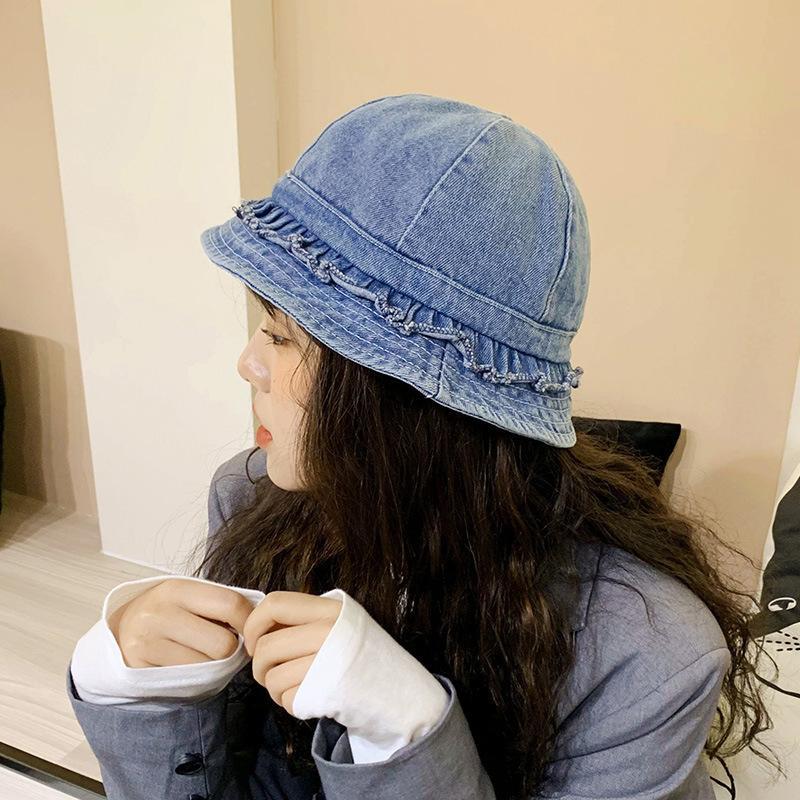 2020 Yeni Sıcak Vintage Kot Denim Yıkanmış Ruffled Frille Balıkçı Şapka Kore Yaz Güneşlik Şapka Kadın Moda Sevimli Kova Kap F1210