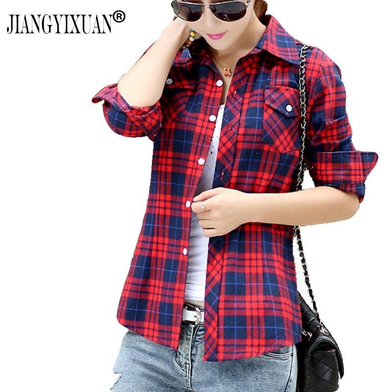 Jiangyixuan Casual Button Down Collo con scollo a risvolto Controlli Flannel Shirts Donne Manica lunga Tops Camicetta Spedizione gratuita S-144 201202