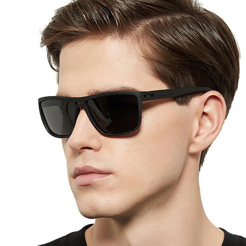 óculos da moda nova e simples quadrados óculos de sol dos homens de duplo feixe textura óculos polarizados UV400 pernas da mola do vintage