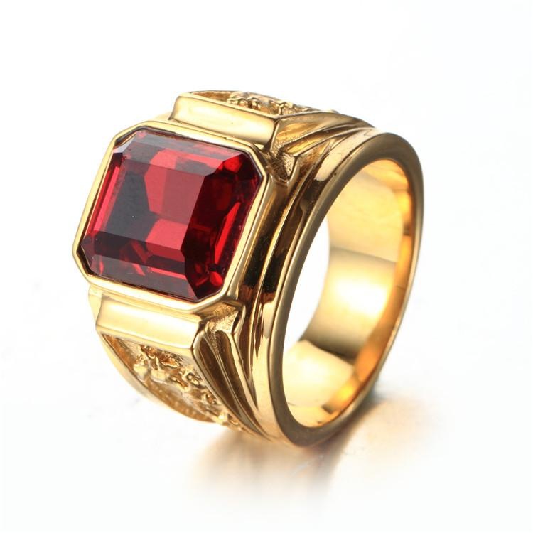 Fashion Men's 316L Stainless Steel Gold Dragon Jewelry Classic Design Animal Rings With Quality Red Blue Green Black Square Rhinestone