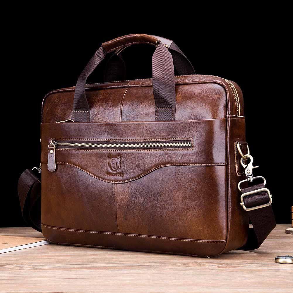 HBP BULLCAPTAIN Men's Genuine Shoulder Messenger Handbags Men Leather Business Laptop Briefcase Travel Bags 2020 Q0112