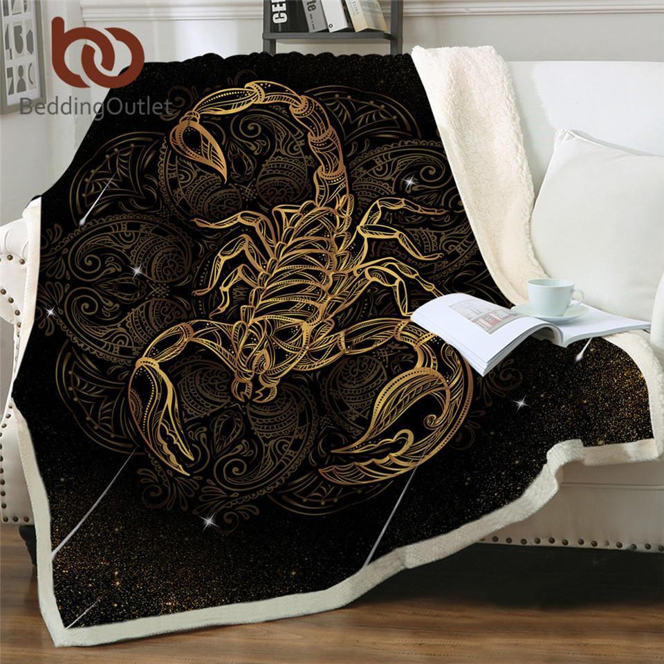 Beddingoutlet Golden Scorpion Couverture Boho Météore Scorpion Literie Vintage Canapé Plaid Velvet Couverture en peluche Constellation Manta 201109