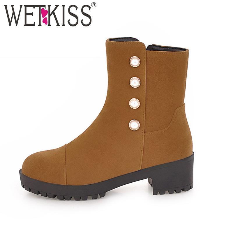 Botas Wetkiss Thick Med Tacones Mujeres 2021 Toe Redondo Pearl Calzado Zip Plataforma Otoño Casual Moda Zapatos Zapatos Caucho