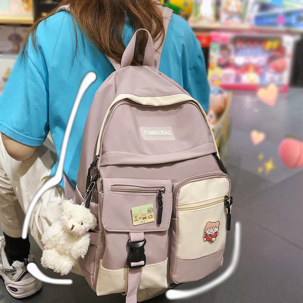 College Student Women Harajuku Cute Badge School Book Lady Kawaii Backpack Nylon Girl Trendy Fashion Bag Female New Q1113