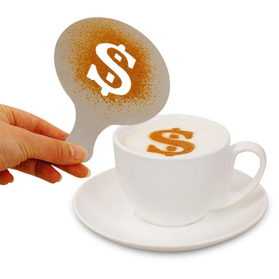 Cafe Köpük Sprey Şablon Barista Şablonlar Dekorasyon Aracı Fantezi Kalıp Plastik 12 adet / takım Kahve Baskı Çiçek Model DWF2774